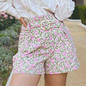 Short Rome Peonies Print High Waist Pockets Loose Casual s Femme Belt Elegant Chic taille haute et jambe évasée 210724