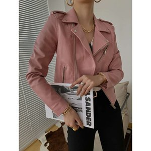 Sinan oblique placket design Motorcycle Women 2020 Korean handsome PU Leather Jacket sn0106