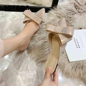 VOODA NUOVA ESTATE DONNE DONNE Strass Bow Pytchers Bling Pointed Toe Slift Slifts Sandali piatti Fashion Luxury Brand Slipper C0330