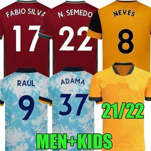 21 22 Wolves Soccer Jersey Fans Versione giocatore Neves Raul 2021 2022 Camiseta de fútbol J.Moutinho Adama Fábio Silva Podence Otto Neto Camicia da calcio Uomo + Kids Kit Uniformi