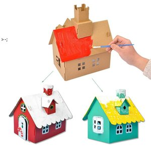 Kindergarten Gift Christmas Cookie House Decorations Children Handmade Diy Material Package Luminous Homemade Hut LLF11122