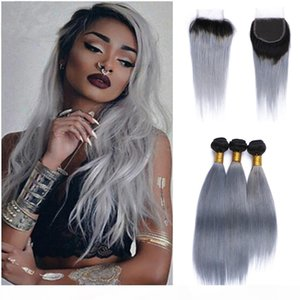Silver Grey Ombre Straight Hair Weave 4Pcs Lot Two Tone 1B Grey Ombre Virgin Human Hair Extensions With Closure 4*4 Lace Closure