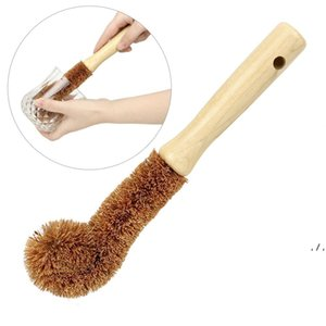 Wooden Cup Brush Kitchen Cleaning Tool Long Handle Coconut fiber Brown Natural Coir non-stick skillet dish washing pot brush DWA4727