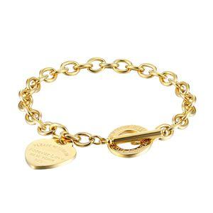 Women stainless steel bracelets PLEASE RETURN TO Heart gold silver OT chains Pulsera Bracelet Fashion T jewelry style