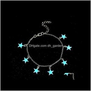 Anklets Jewelryluminous Star Tassel Bracelet Sier Glow In The Dark Anklet Chain Yoga Dancing Foot Ankle Bracelets P S1822 Drop Delivery 2021