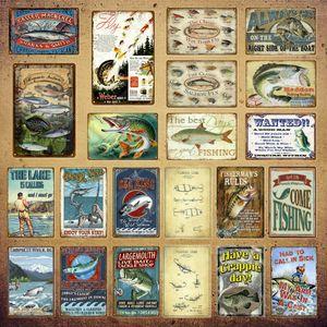 2021 Venha Pesca Metal Pintura Sinais Pescador Regras Fish Beach Seasides Poster Clássico Salmão Vintage Vintage Placa Adesivo De Parede Pub Bar Barra De Decoração Outdoor 30x20cm