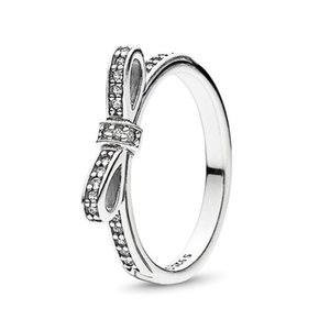 حقيقي 925 فضة تشيكوسلوفاكيا الماس القوس الدائري مع مربع الأصلي مجموعة صالح باندورا نمط الزفاف الاشتباك مجوهرات للنساء الفتيات