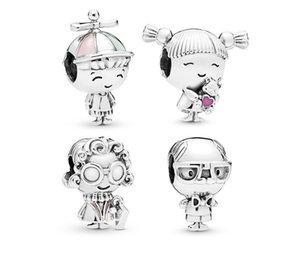 Convient aux bracelets Pandora 30pcs Garçon Garçon Grandma Grand-mère Dangle Pendentif Charms Perles Perles De Charmes Silver Perle Pour Femmes Collier européen Collier bijoux
