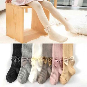0-8Yrs Spring Autumn Children Kids Cute Sweet Bowknot Knit Tights Baby Girl Cotton Breathable Pantyhose For Toddler Girls Sale 210414