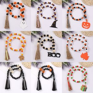 Wall Decor Halloween Christmas Wood Bead Garland Decorated with sign pendant Tassel Farmhouse Beads Party Favor Decorations M3808