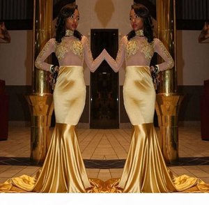 Gold Yellow Mermaid Prom Dresses 2018 New African Formal Wear Illusion Sheer Long Sleeve Beaded Lace Appliques Evening Gowns For Black Girls