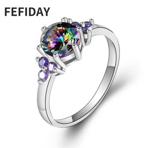Cluster Rings FEFIDAY Women's Crystal Woman Wedding Engagement Ring With Stone Female Fire Opal Zircon Finger For Women