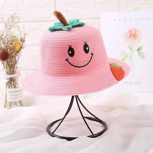 Breathable Children's Hats Ins Fashion Cute Cartoon Fruits Ornament Beach Travel Sunscreen Hat Smile Face Pattern