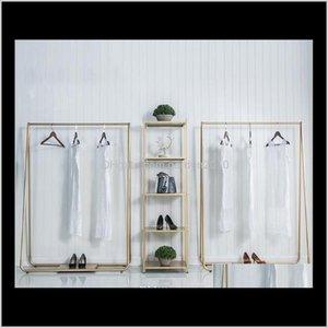 Muebles comerciales Tipo NORDIC SIMPLICIDAD Estilo Partires de compras en Tiendas de ropa Golden Side Colgando Prendas Rack Suelo Moda Han NZL61