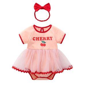 Newborn Rompers Baby Jumpsuit Kids Clothes Cotton Lace Dress Princess Girls One Piece Clothing Bodysuits Headbands 2Pcs Summer Short Sleeve Onesies B5433