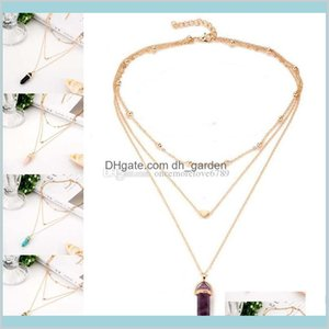 Pendant Necklaces Drop Delivery 2021 Multilayer Chain Hexagonal Chakra Yoga Natural Stone Necklace Gold Heart Pendants Women Fashion Jewelry