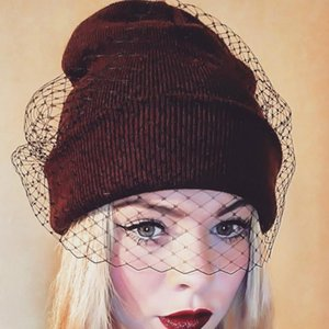1 Pc Women's Knit Warm Wool Street Retro Veil Hat Sexy Mesh