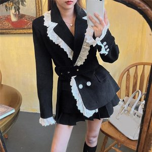 [EWQ] 2021 Winter Female Ruffles Girar el cuello Double Breast Minimalist Suelto Lace Up Corduroy Chaqueta Cardigan Coat 8D10481