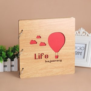 16 Inch Wooden Photo Albums Loose-Leaf Pasted Photo Album Baby Lovers Gift DIY Photo Album Scrapbook Memory Book Picture Storage 210330