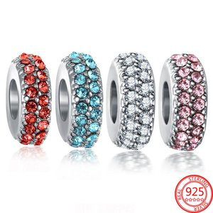 100% Real 925 Sterling Silver CZ Charms Space Stopper Beads Fit Original Pandora Bracelet and Necklace DIY Jewelry