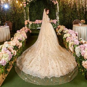 Bridal Veils Bling Long With Comb Wedding Cathedral Length Pearls Glitter Moon Stars Dots Champagne Gold 3Meters 4Styles