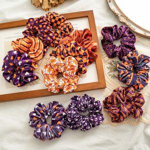 Halloween Velvet Hair Scrunchy Hairband For Woman Pumpkin Plaid Star Print Elastic Bands Girl Ties Accessory Rope