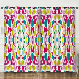 Curtain & Drapes Colorful Geometry Room Decoration Background Cloth Pink Curtains Luxury