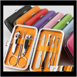 Other Home Garden Clipper Suit Scissors Tweezer Knife Ear Pick Set Stainless Steel Nail Care Tool Utility Manicure 7Pcs Colorful Sets Dlwcp