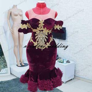 2021 Artı Boyutu Kısa Balo Elbise Mermaid Bordo Kadife Dantel Aplikler Vestidos Formale Abiye Arapça Kokteyl Abiye