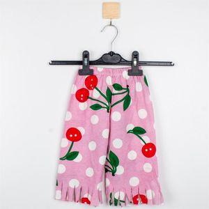 Shorts Mammakid Baby Kids Children Summer Girl Cherry Print Short With Fringe Leg Ends In Pink