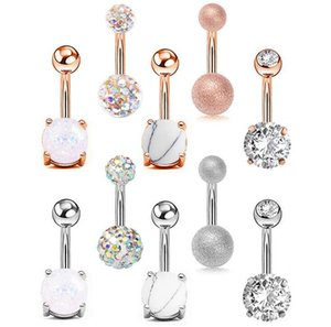 5pcs Sexy 316L Acciaio chirurgico Barra Belly Bottone Anelli Donne Donne Crystal Ball Girls Navel Piercing Barbell Orecchino Stone Body Jewelry Set GC162