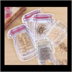 Kitchen Housekeeping Organization Home Garden Drop Delivery 2021 Bulk Mason Jar Shaped Food Container Reusable Eco Friendly Snacks Bag Plasti