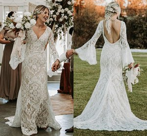 Boho Mermaid Wedding Dresses Long Flare Sleeves Backless Bridal Gowns Lace Bohemian Summer Garden robe de marriage Custom Made Plus Size
