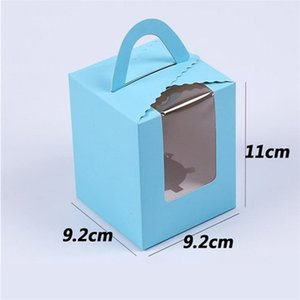 Single Cupcake Boxes With Clear Window Handle Portable Macaron Box Mousse Cake Snack Boxes Paper Package Box Birthday Party Supply 103 p2