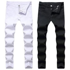 Mode Männer Jeans dünne dünne Slim Fit Pant Stretch White Black Denim Lange Männer