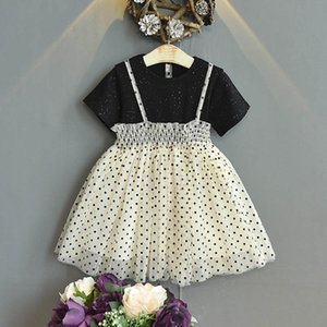 Girl's Dresses Dots Kids Lace Tutu Princess Summer Short Sleeve Baby Clothes Children Wear 2-6T B4588