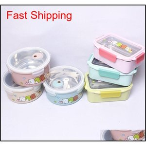 Boxes 1000800Ml 304 Stainless Steel Insulated Lunch Portable For Children Cartoon Cute Dinnerware Camping School Bento Box 0Poo4 Dvl1X