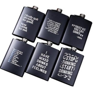 8oz Stainless Steel Hip Flask English Letter Black Personalize Flask Outdoor Portable Flagon Whisky Stoup Wine Pot Alcohol Bottle CYZ3110