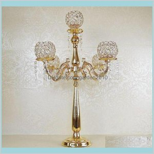 Party Decoration Event & Supplies Festive Home Garden Product Elegant Tall Metal And Crystal Candelabra Centerpieces Wedding Gold , Si