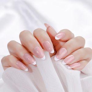 False Nails 24 шт. Французская розовая белая короткая шпилька поддельных прессы на ногтях подсказки с клеем модный инструмент маникюр