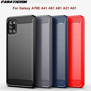Luxury Style Carbon Fiber Brushed Texture Cases For Samsung Galaxy A70E A41 A91 A81 A21 A01 Case Soft TPU Rugged Shield Cover