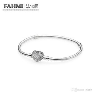 Otantik 925 Ayar Gümüş Kalp Takılar Bilezik Kutusu Ile Fit Pandora Avrupa Boncuk Takı Bileklik Kadınlar Için Gerçek