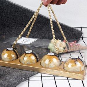 Портативный прозрачный пирожный кекс рулонные коробки с ручкой Pet упаковочный десертный контейнер держатель партии упаковка подарочная коробка DHD7514