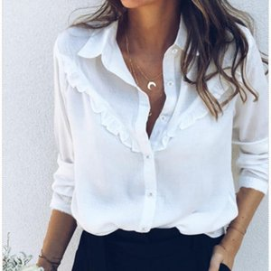 Summer Basic White Blouse Shirts Button Ruffles Long Sleeve Ladies Plain Work Shirt Office Top Women's Blouses &