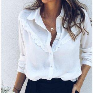 Summer Basic White Blouse Shirts Button Ruffles Long Sleeve Ladies Plain Work Shirt Office Top Women's Blouses &