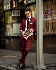 Two Piece Mens Suit Claret New Fashion Groom Suit Wedding Suits For Best High Quality Costumes De Mariage Pour Hommes