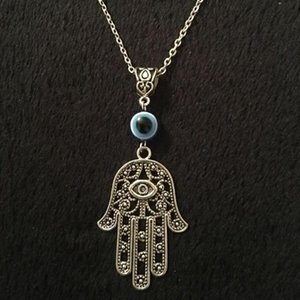 Hamesh Hand Pendant Necklace Blue Evil Eye Alloy Chain Choker Amulet Jewish Jewelry For Women Men Accessories Gift Necklaces