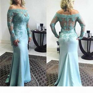 Elegant off the Shoulder Lace Mother Of The Bride Dresses Sheer Long Sleeves Custom Made Sheath Mermaid Formal Evening Gowns