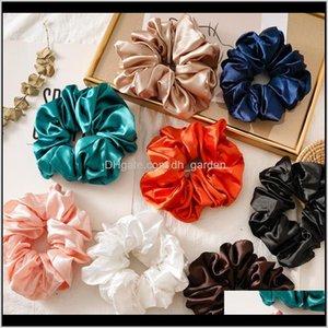 Rubber Jewelry Drop Delivery 2021 Oversized Bright Color Scrunchies Women Silk Scrunchie Elastic Elegant Hair Bands Girls Headwear Donut Grip