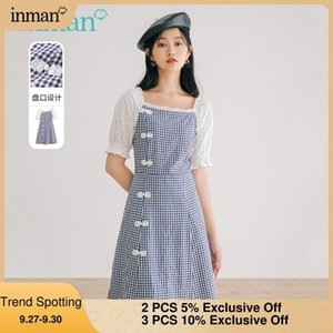 Party Dresses INMAN Summer Autumn Women's Dress Retro Sweet Square Collar Fresh Elegant Plaid Chinese Frogs Short Sleeve One-Piece